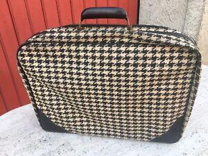 Ancienne petite valise tissu pied de poule vintage déco