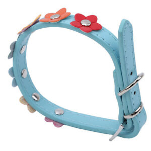Dog Colours Flower Studded Coller Pet Collar PU Leather Puppy Cat Neck Strap F