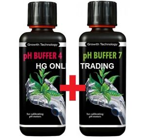 pH Buffer 7 and pH Buffer 4 Growth Technology Essentials Calibration Fluid 300ml