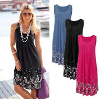 Boho Women Summer Sleeveless Beach Printed Short Mini Dress Casual Sundress HOT