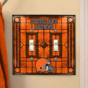 Cleveland Browns Art-Glass Double Switch Plate Cover FREE SHIPPING