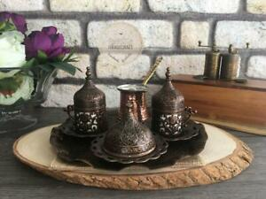 Turkish Coffee Set Traditional Turkish Coffee Cups and Copper Coffee Pot Brown