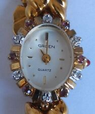 Gruen Quartz Diamond Ruby Bezel Gold Plated Ladies Swiss Watch (Works)