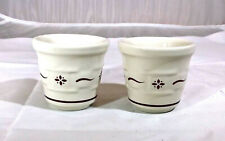 Longaberger Pottery Set of 2 Woven Traditions Red Votive or Toothpick Holders