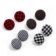 EG_ Fashion Women Houndstooth Plaid Stripes Round Button Ear Studs Earrings Adro