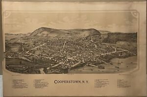 Scarce Original 1890 Burleigh COOPERSTOWN NEW YORK Birds Eye View MAP Lithograph