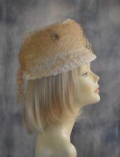 "Tru Vtg 1950 - 1960 Pillbox Hat Off White Straw Dotted Veil Bow 21-3/4"" Church"