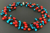 """Vintage Natural Turquoise Red Coral Beaded Multi Strand Necklace 17"""""""