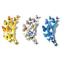 10X(12 stk / Set 3D Simulation Schmetterling Wandaufkleber Kunst Design AufV7N8)