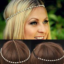 Bohemian Women Metal Pearl Head Chain Jewelry Forehead Headband Beads Hair Band