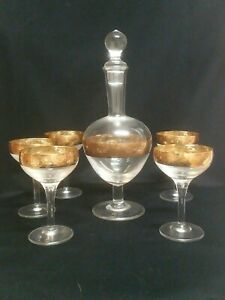 Antique Venetian Glass Decanter set with 5  glasses 24k gold leaf