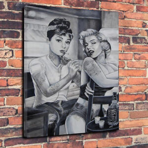 Marilyn Monroe Audrey Hepburn Tattoo Printed Box Canvas Picture Multiple Sizes