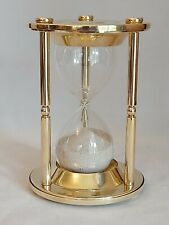 More details for vintage sand hour glass in brass surround. times to 15 minutes