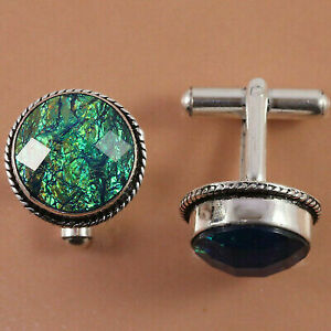 Handicraft Ethnic Austrelian Opal Gemstone  Women Silver Jewelry Cuff-Link 1''