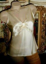USA 4 Silk Satin Cami Blouse Top Empire Creamy Ivory Off White