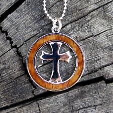 Hawaii Jewelry Koa Wood Jesus Cross Silver Rhodium Plated Brass Pendant BRP1151