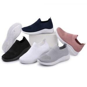 Women's Slip On Mesh Trainers Sneakers Run Fitness Gym Sports Pumps Shoe Size Uk