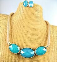 Elegant Color Glass Stone Gold Necklace Earrings Set Costume Women Jewelry