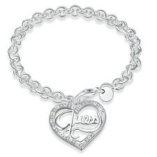 Silver Plated Guess Heart Link Chain Bracelet Fashion Women Bangle Jewelry Gift