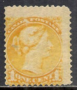 CANADA SCOTT 35 MH FINE - 1870 1c YELLOW QUEEN VICTORIA ISSUE   CAT $50.00
