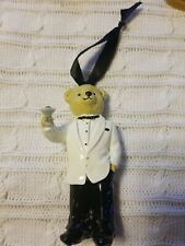 Ralph Lauren Bear in Tuxedo Holding Martini Ornament with   Monogrammed Shoes