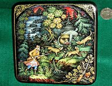 Russian big UNIQUE hand painted Lacquer Box PALEKH WILD BOAR HUNT Hunting Scene
