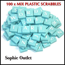 100 x Plastic Scrabble Tiles Letters Numbers Crafts Alphabet Scrabbles BLUE