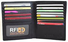RFID Security Lined Leather Wallet Quality Full Grain Cow Hide Leather.blk 11026