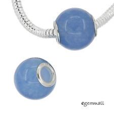 1x Sterling Silver Blue Jade Barrel Charm Bead Fit European Bracelet #94347