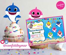 Baby Shark Party Birthday Set Printable Invitation and Cupcake decor. You Print