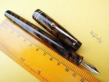 Ebonite Fountain Pen; Eyedropper;#4 D-tone Nib; Brown-Black Colour