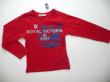 3 POMMES T-SHIRT ROUGE MANCHES LONGUES 4 ANS THÊME LONDRES ROYAL VICTORIA NEUF