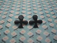 FUNKY BLACK ACE CLUBS EARRINGS CASINO POKER KITSCH CUTE RETRO EMO NOVELTY CARD