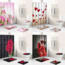 Fabric Floral Shower Curtain Set with 12 Hooks Flower Poppy Rose Bath Rug Mat