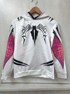 White Spider Man Hoodie Sweatshirt Pullover Size M Youth