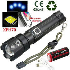 990000Lumens Zoomable XHP70.2 5Modes LED USB Rechargeable 26650 Flashlight