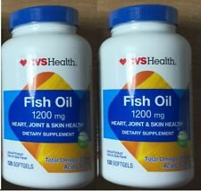 2 CVS HEALTH FISH OIL 1200MG, 120 SOFTGELS EA. EXP: 9/2020