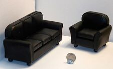 Dollhouse Miniature Leather Black Sofa Chair 1:12 inch scale D39 Dollys Gallery