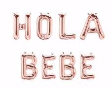 "HOLA BEBE Letter Balloons - 16"" Rose Gold - Hello Baby Spanish - US SHIP"