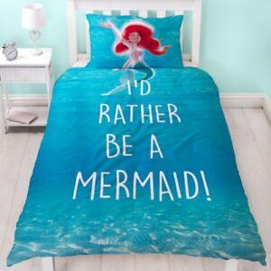 Official Disney Princess Mermaid Reversible Single Duvet Cover Girl's Bed Set