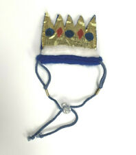 The Great PretendEars Blue and Gold Fabric Crown with Strap for Dog
