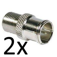 2 x F-Type F Plug Push On Quick Fit Adaptors Foxtel/VAST/LNB/TV
