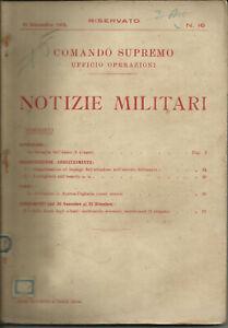 NOTIZIE MILITARI N.16 31-12-1918 PRIMA GUERRA MONDIALE AVIAZIONE ARTIGLIERIA A.U