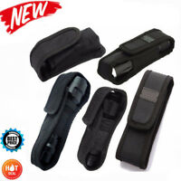 LED Flashlight Torch Lamp Nylon Pouch Holster Belt Carry Case Holder 5Size Black