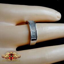 MEN NEW 14K WHITE GOLD G P SILVER 0.35 CARAT  GENUINE DIAMOND RING WEDDING BAND