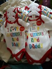 Personalised Baby grow....I love Mummy /& Daddy Multi colour thread..Great Gift