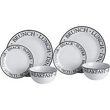 New Noir 24pc Dinner Set Words Black White Porcelain Kitchen Serving Plates Bowl