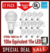 12 LED Light Bulbs MAXLITE 15W 1600 Lumens Soft White 2700K A19 E26 Dimmable !