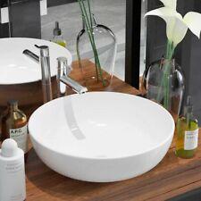 vidaXl Bathroom Basin Round Ceramic White Above Counter Vanity Vessel Sink