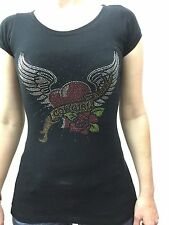 Women's Cowgirl Tuff Shirt w/Heart with Wings, Black-Medium